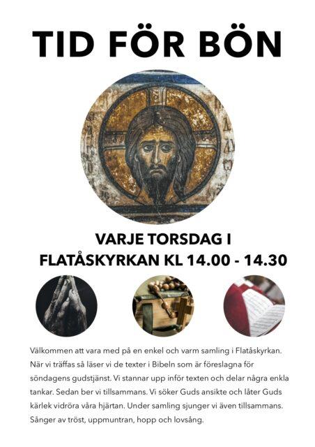 Ny tid för Flatåskyrkans bönesamling – Torsdagar kl 14.00-14.30