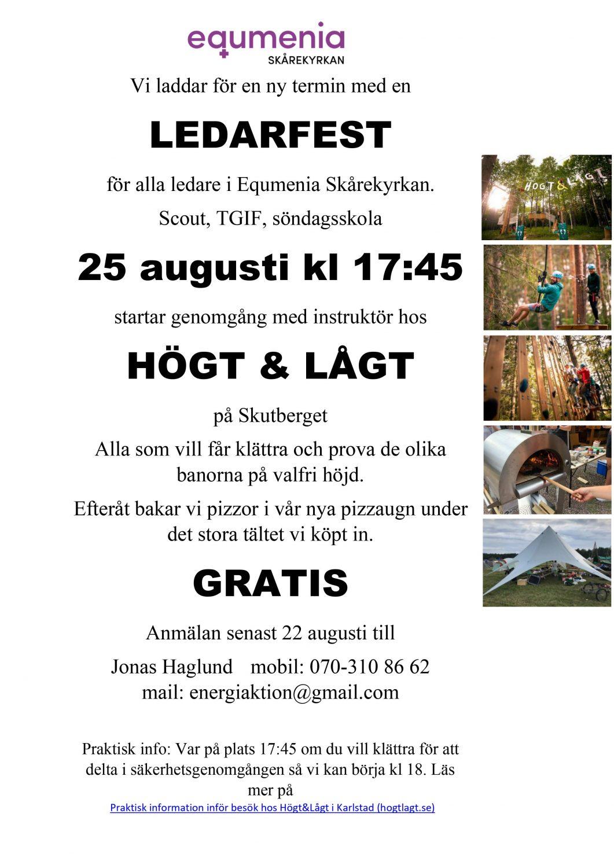 Affisch, ledarfest 25/8 på Högt och Lågt