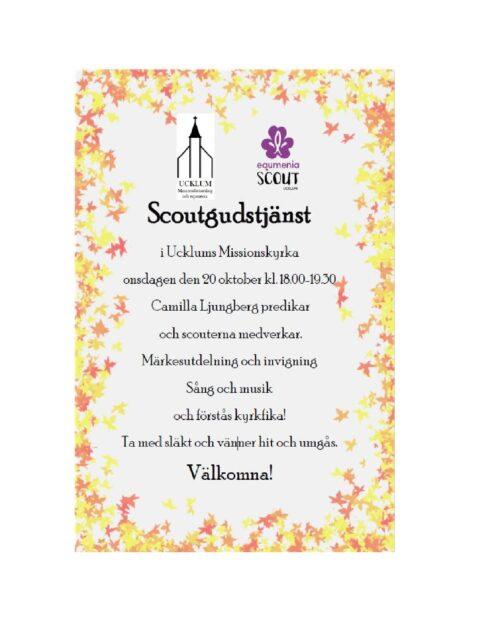Scoutgudstjänst onsdag 2021-10-20 kl 18:00