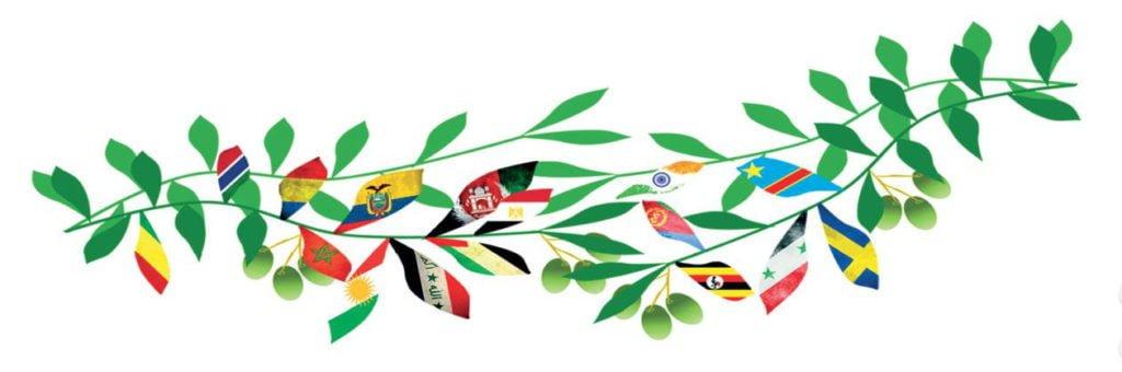 Gren med flaggor som blad