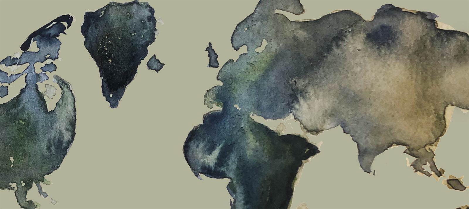 Ritad världskarta