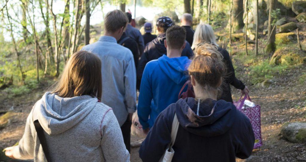 Elever på vandring under kallelsedagarna