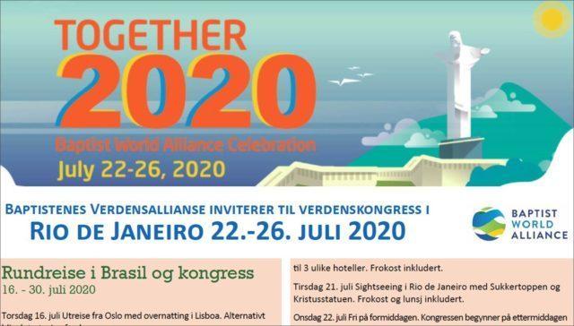Inbjudan till gruppresa till baptisternas Världsallians (BWA) kongress i Rio de Janeiro Juli 2020