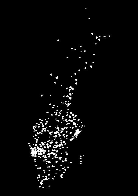 Nationella insamlingen - Sverigekarta med vita prickar