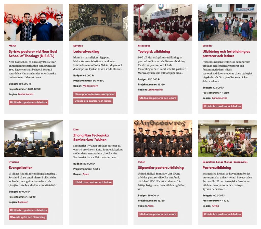 Skärmdump på några av internationella målen