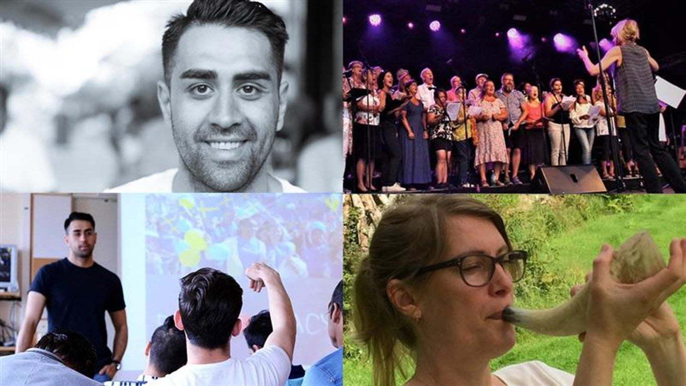 Collage med foton från Svenska med sång